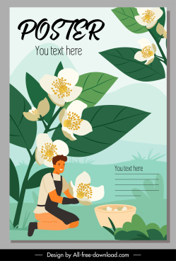 flowers crop poster colorful cartoon sketch