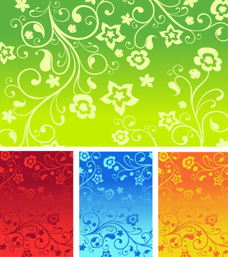 flowers decorative pattern background vector art