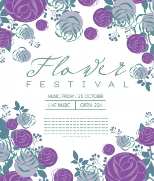 flowers festival banner various violet floral icons decor