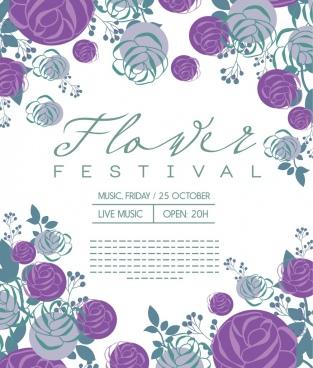 flowers festival banner various violet floral icons decor