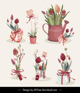 flowers gifts icons elegant classic decor