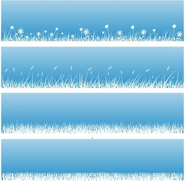 flowers grass silhouette vector