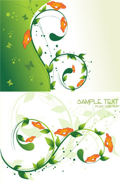 flowers green background vector
