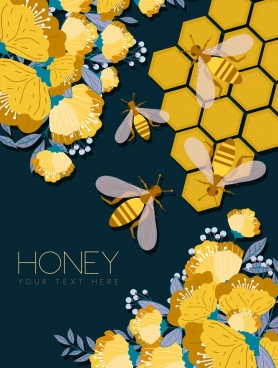 flowers honey background yellow flat decoration