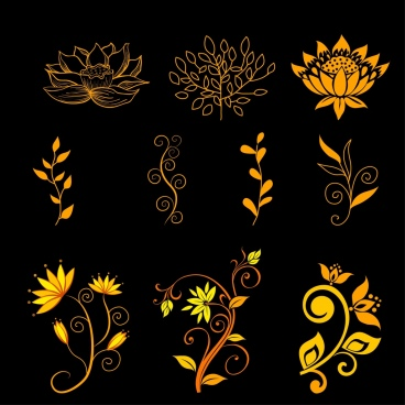 flowers icons collection yellow decoration various types sketch