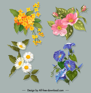 flowers icons colorful classic design blooming sketch