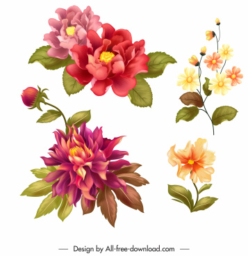 flowers icons colorful vintage decor