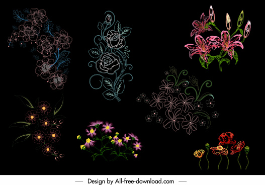 flowers icons dark colored handdrawn sketch