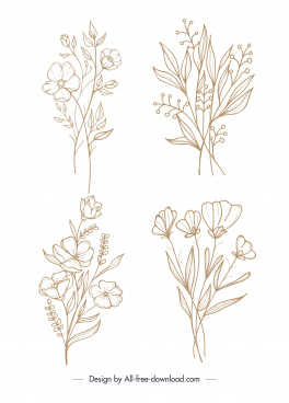 flowers icons handdrawn sketch classical design