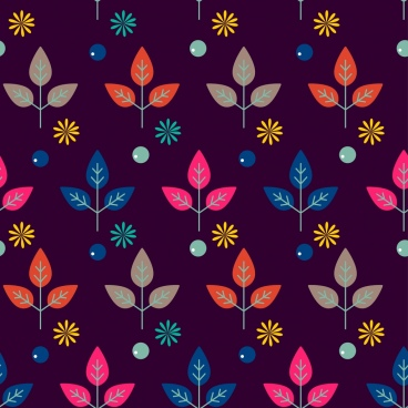 flowers leaf background colorful repeating design