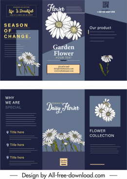 flowers leaflet template trifold shape elegant dark classic