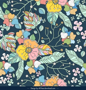 flowers nature pattern template colorful retro sketch