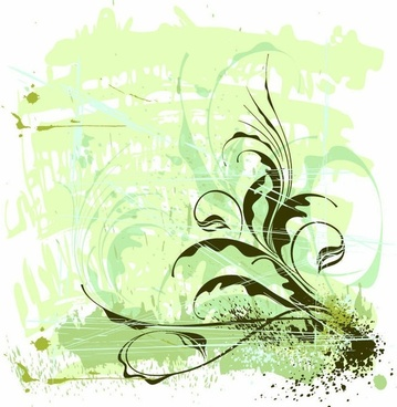 Flowers Ornament Grunge Background Vector