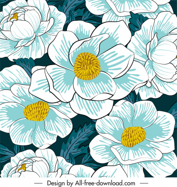 flowers painting colored classical closeup design