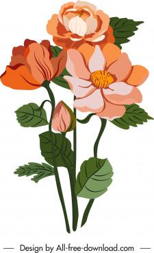 flowers painting colored retro design closeup sketch
