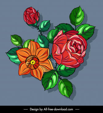 flowers painting colorful classic design