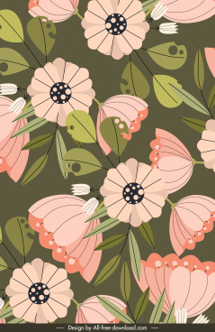 flowers painting colorful classical flat design