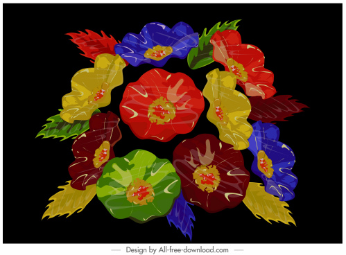 flowers painting dark colorful classical design