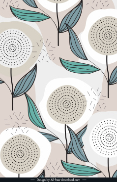 flowers painting flat handdrawn retro design