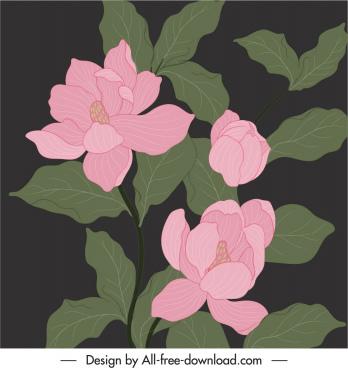 flowers painting vintage design colored dark handdrawn