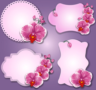 flowers paper cards vector