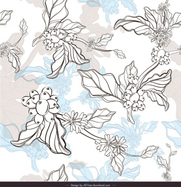 flowers pattern black white handdrawn sketch