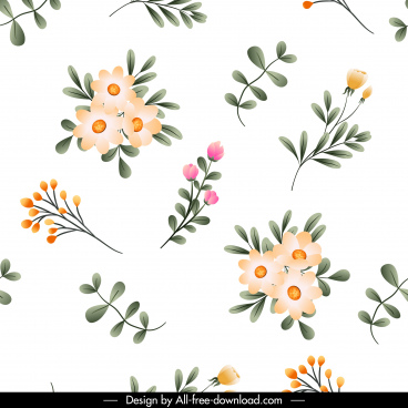 flowers pattern bright colorful petals leaf decor