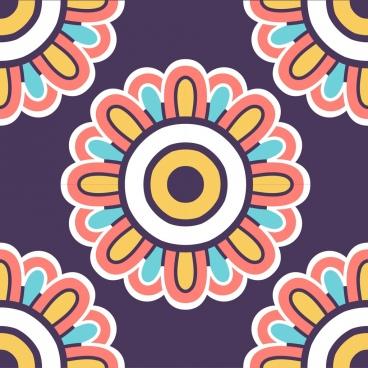 flowers pattern classical colorful symmetric flat decor