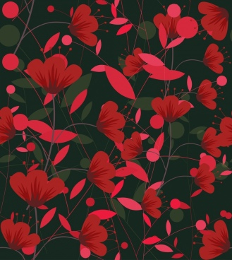 flowers pattern classical dark red design