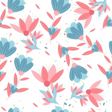 flowers pattern classical decor red blue design
