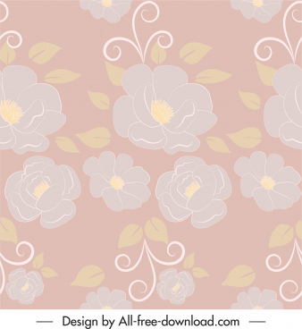 flowers pattern colored blurred flat design