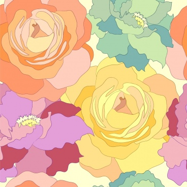 flowers pattern colorful botany decoration rose sketch