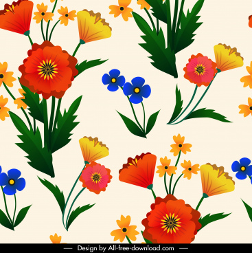 flowers pattern colorful bright petals leaf decor