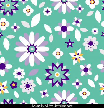 flowers pattern colorful classic flat petals decor