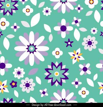 flowers pattern colorful classic flat petals decor