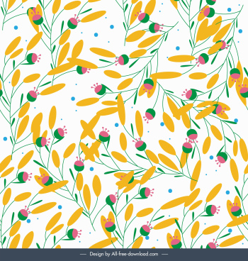 flowers pattern colorful classical flat handdrawn sketch