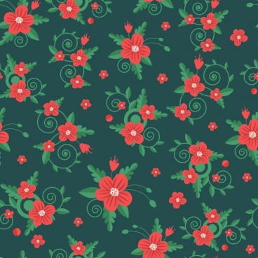 flowers pattern dark classical green red decor