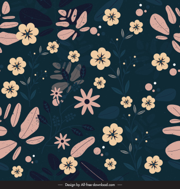 flowers pattern dark colorful classic flat design