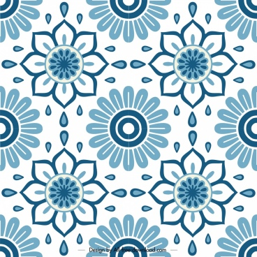 flowers pattern template classical flat blue symmetric decor
