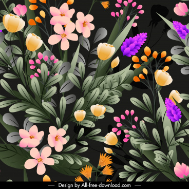 flowers pattern template colorful blossom decor