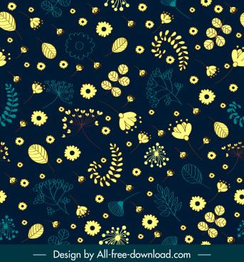 flowers pattern template dark classic flat decor