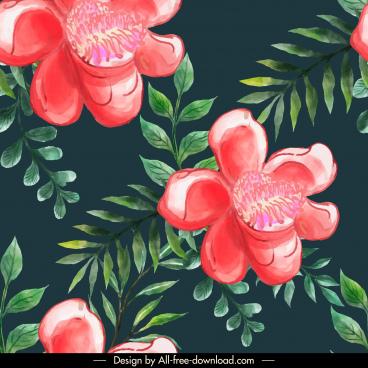 flowers pattern template elegant classical handdrawn design