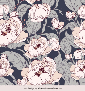 flowers pattern template elegant retro handdrawn