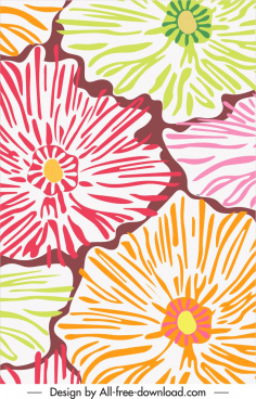 flowers pattern template handdrawn sketch colorful flat classic