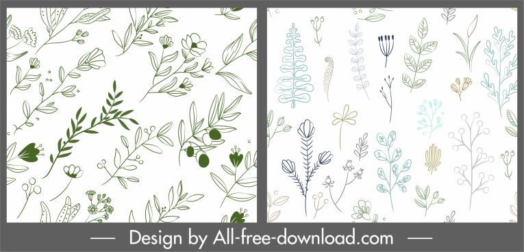 flowers pattern templates bright handdrawn flat sketch
