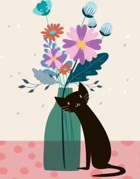 flowers pot drawing black cat icon decor