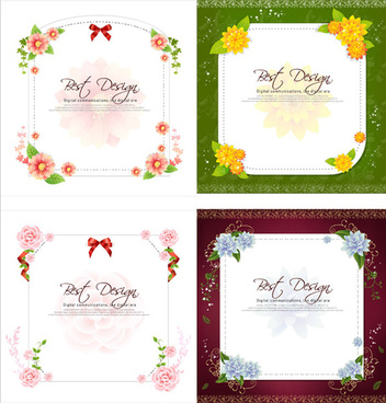 flowers ribbon text frames vector