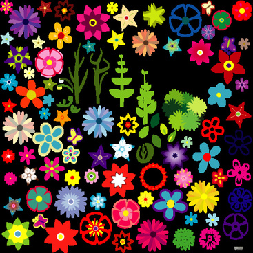 flowers sets collection vector illustration with various shapes