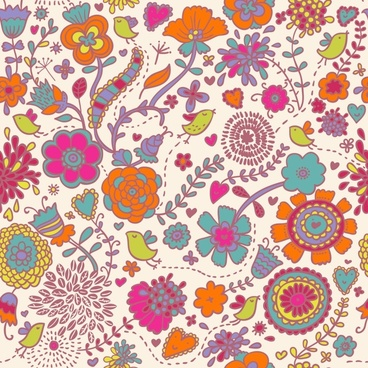 nature pattern template flowers birds decor classical design