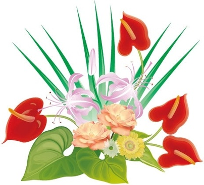 flowers decoration icon design closeup colorful style